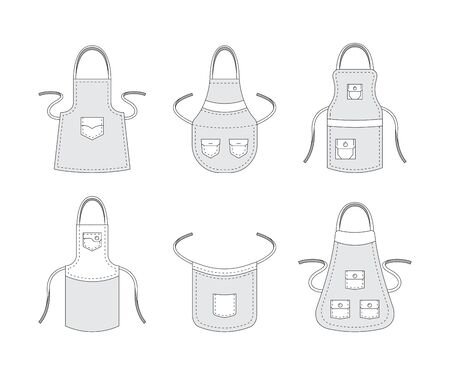 Kitchen aprons. Professional clothes for cook preparing food accessories aprons with pockets vector template collection. Illustration protective apron, uniform to cooking Ilustração