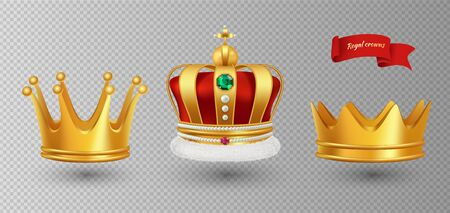 Realistic royal crowns. Vector luxury premium monarchy antique diadem diamonds and jewels and gold crowns isolated on transparent background. Illustration crown emperor, coronation monarch Stok Fotoğraf - 130034840
