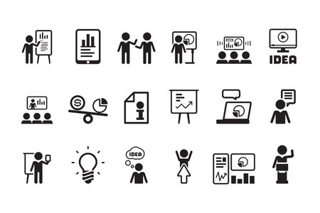 Business lesson icon. Presentation training speaking events conferences classroom meeting people vector symbols pictogram. Businessman presenting education, learn and training illustration