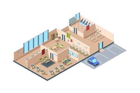 Coworking. Zone startup loft modern open space business office creative rooms with furniture vector isometric interior. Office space with interior workplace, workspace coworking illustration