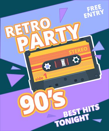 Retro party poster. 90s label with stereo audio cassette music background vector placard. Poster retro party 90s, flyer with retro cassette