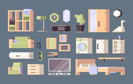 Furniture living room. Tables desk chairs bed vector orthogonal flat pictures. Illustration furniture sofa and armchair, bedroom and house