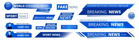 Breaking news. Broadcasting banners tv sport weather video interface vector graphic. News broadcasting banner, broadcast tv headline illustration