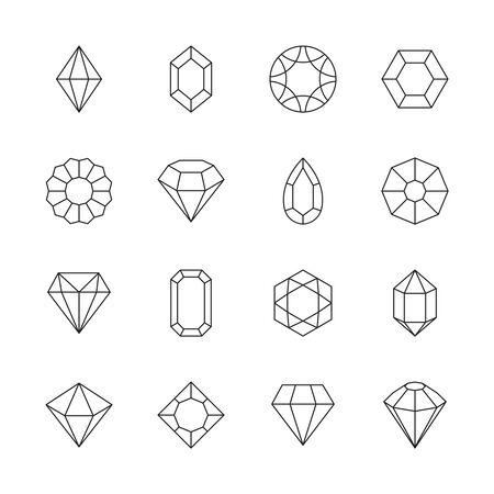 Diamond icon. Jewels outline symbols gems stones geometrical polygonal forms vector collection. Illustration stone crystal, brilliant precious, facet jewel gemstone Stok Fotoğraf - 130035424