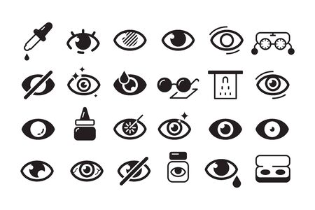Optometry icon. Ophthalmology symbols eye doctor lens optician vector line collection. Illustration lens and optician icons set, sight and vision Фото со стока - 130035421