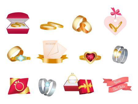 Wedding rings. Marriage bouquet invitation icon cake and suit bride love vector wedding symbols. Gem and golden ring, love marriage illustration Illustration