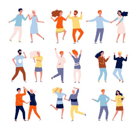 Dancing couples. Funny people male and female crowd dancing tango salsa chacha vector happy characters collection. Woman and man happy dance together, disco party illustration