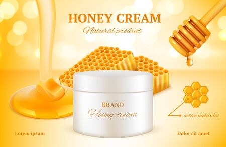 Honey cosmetics. Nature sweet golden skin care natural product advertising packages woman cosmetic honeycomb vector. Cosmetic honey sweet, container essence with nature sticky organic illustration
