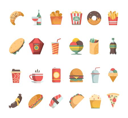 Fast food icons. Junk food sandwich hamburger coffee fried potatoes beverage vector flat pictures. Illustration hamburger and sandwich, burger and drink beverage, coffee and meal Imagens - 130035429