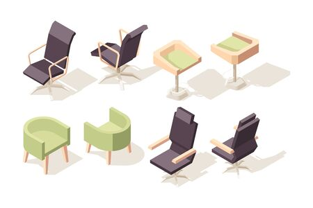 Chair isometric. Modern wooden furniture for office cabinet vector low poly 3d objects chairs and armchairs collection. Chair and armchair for office, seat furniture isometric illustration Ilustração