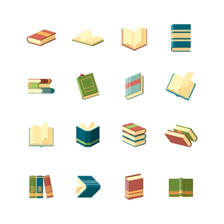Books collection. Simple icon school library publishing and magazines covers vector flat books symbols. Education book, textbook and encyclopedia, literature notebook illustration Stock Illustratie