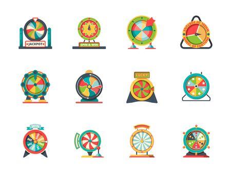 Icône de fortune de roue. Encerclez les objets de la collection de roues de loterie vectorielles de roulette chanceuse. Roue de fortune pour jouer, illustration de jeu de casino chance