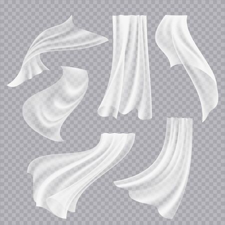 Flying curtains. White blank clothes transparent fabric decorative twisted flowing silk with folds vector realistic. Curtain flying realistic, flowing silk transparent illustration