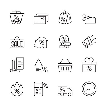 Discount icon. House money people interest price sales credit concept vector symbols. Business discount shop, price shopping illustration