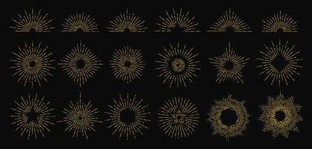 Golden sunburst. Vector radiant rays icons. Vintage sun flame elements. Hipster style doodle  design. Sunshine radial golden, decoration starburst with rays light illustration Illusztráció