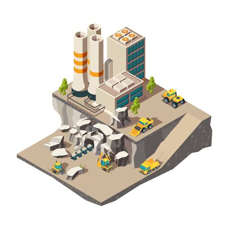Mining isometric. Rock mine industry production quarry construction technics vector composition. Industrial equipment mine, rock excavating 3d isometric
