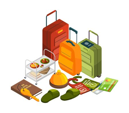 Isometric hotel elements. Vector all inclusive concept. Travel, tourism industry illustration. Hotel vacation, luggage isometric and reservation service