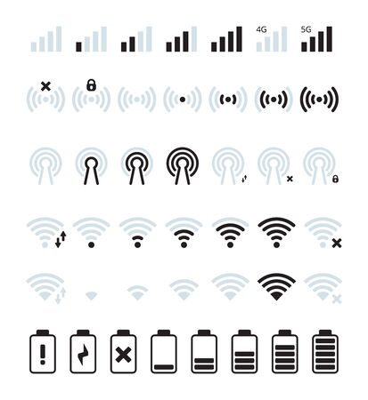 Phone mobile signal. Wifi and mobile status bar connection icon gsm batteries level vector pictures. Illustration battery and signal, wifi, mobile phone status Ilustrace
