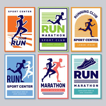 Running club poster. Marathon winners sportsmen athletes fitness for healthy people vector placard collection. Illustration run achievement, competition banner