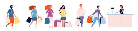 Queue store. Shopping people with products standing at counter shopper happy crowd queue vector collection. Queue store to cashier, person do shopping illustration