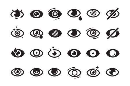 Eyes symbols. Closed opening eye human parts optical medical healthcare insomnia cataract good looking vision vector icons. Eye sight, look human, see and eyesight illustration
