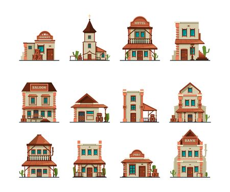 Western constructions. Old wild west town store saloon cowboy bar vector building in cartoon style. Country american building in wild west style illustration