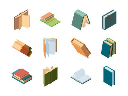 Books isometric. Library symbols school items opened and closed diary magazines and books vector collection. Book and diary isometric, literature publication illustration Stock Illustratie