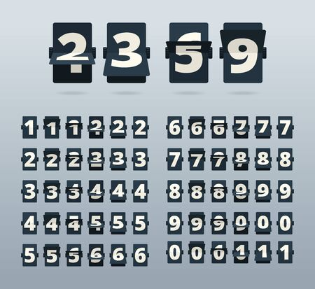 Time numbers. Flip clock template countdown vector template. Illustration number mechanism, digit animation flipping Иллюстрация