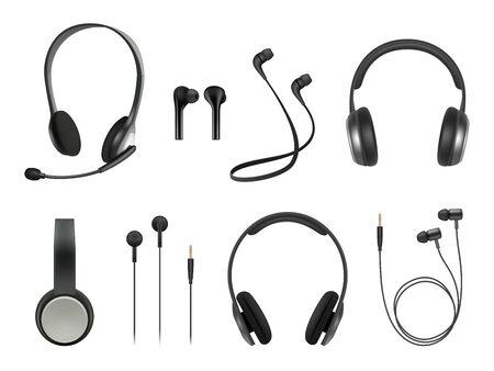 Auriculares realistas. Auriculares de música moderna colección de vectores de auriculares inalámbricos. Accesorio de auricular de ilustración, auricular de equipo realista con micrófono