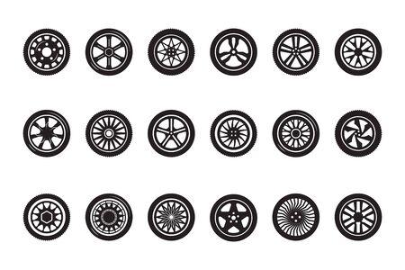 Collection de roues de voiture. Silhouettes de pneus d'automobiles roues de véhicules de course images vectorielles. Illustration de pneu automobile, jeu de roues de voiture