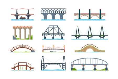 Bridges. Wooden iron aqueduc with column modern architectural objects vector bridge in flat style. Illustration architecture bridge, landmark structure building Illustration