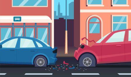 Crash on road. Accident highway fast car driver damaged transport vector cartoon background. Illustration accident with car crash on city road Ilustração Vetorial