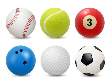 Sport equipment. Realistic balls billiard football tennis baseball golf and bowling vector collection. Illustration football and, baseball, tennis sport, equipment for game