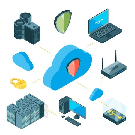 Data protection vector concept. Isometric cloud storage infographic. Illustration security data center, digital connect network safety
