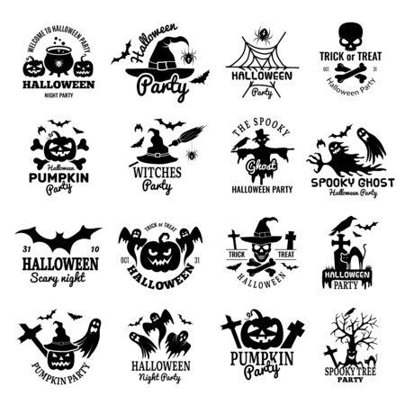 Halloween symbols. Scary  collection horror badges pumpkin skull and bones ghost vector design template. Illustration halloween  , witch and pumpkin black Standard-Bild - 130035805