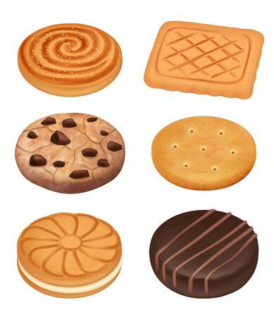 Ciasteczka. Pyszne jedzenie deser słodycze kremowe herbatniki z czekoladą kruszy kawałki krakersy wektor realistycznej kolekcji. Ilustracja herbatniki słodkie, deserowe ciasteczka, przekąska, realistyczne jedzenie