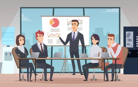 Meeting office interior. Business conference room with people managers working team vector cartoon interior. Illustration office meeting, business team and teamwork