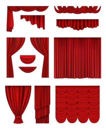 Curtain stage. Theatrical opera hall decoration red luxury silk curtains vector realistic collection. Illustration interior luxury red curtain made from velvet or silk Иллюстрация