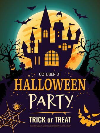 Affiche d'Halloween. Modèle de flyer d'invitation à une fête effrayante avec des symboles d'horreur citrouille os crâne vecteur halloween fond. Soirée au cimetière, invitation à l'illustration effrayante d'Halloween