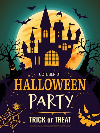 Halloween poster. Scary party invitation flyer template with horror symbols pumpkin bones skull vector halloween background. Night party on cemetery, invitation to scary Halloween illustration