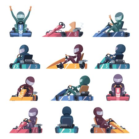 Karting cars. Fast racers speed karting machines on road vector cartoon illustration. Racer driver speed, competition vehicle cart