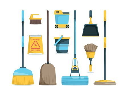 Broom collection. Household equipment mops and brooms for floor home hygiene vector cartoon pictures. Broom and mop, duster for hygiene floor illustration Фото со стока - 130035823