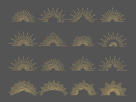 Vector sunburst emblem. Line radial rays illustration. Vintage gold burst set for logo, cards, invitation. Radial burst, sunburst shape, starburst star