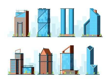 Modern skyscraper. Corporate offices buildings constructions exterior towers vector urban collection flat. Illustration skyscraper glass tower collection Illusztráció