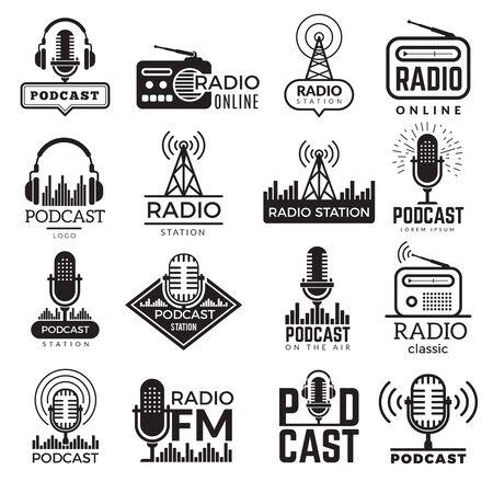 Radio station  . Music studio podcast speaker vector badges collection. Radio station  with antenna, broadcast  Fm illustration