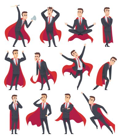 Businessman superheroes. Male characters in action poses of superheroes business person vector cartoons. Illustration businessman pose, superhero power, leadership in red cloak