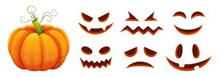 Halloween pumpkin faces generator. Vector cartoon pumpkin with scared and smiley faces. Illustration halloween scared face, pumpkin smiley Иллюстрация