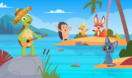 Turtles background. Nature wild animal singing playing vector cartoon turtle background illustration. Tortoise posing play guitar, colored picture for kids book