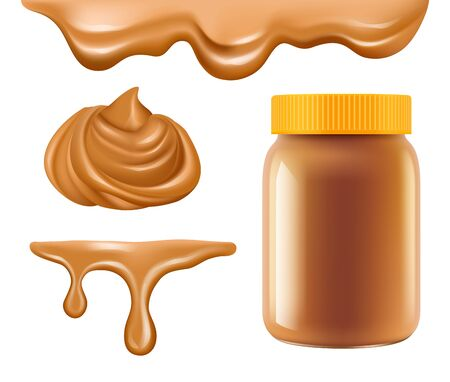 Peanut butter. Healthy breakfast caramel or chocolate butter sweet creamy dessert vector realistic collection. Illustration nut flavor, confectionery creamy