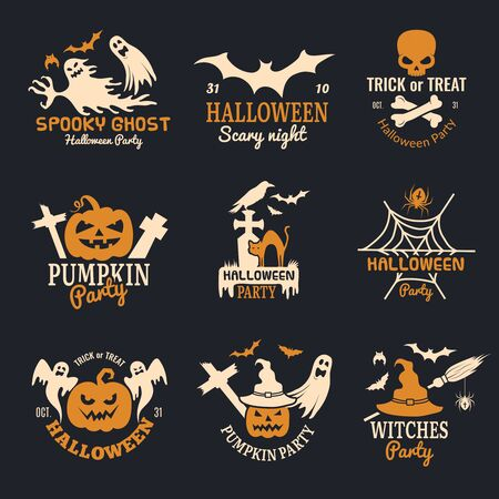 Halloween badges. Party scary  horror symbols skull bones vector halloween collection. Horror party holiday halloween  illustration Standard-Bild - 130035998